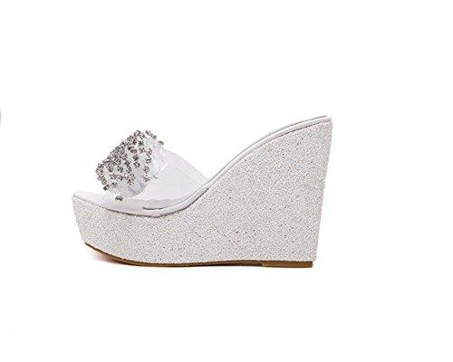 Diamante di Xia Shui donna trasparente con perline tacco alto piattaforma sandali e pantofole pantofole glitter pesci Pantofole , white , 35