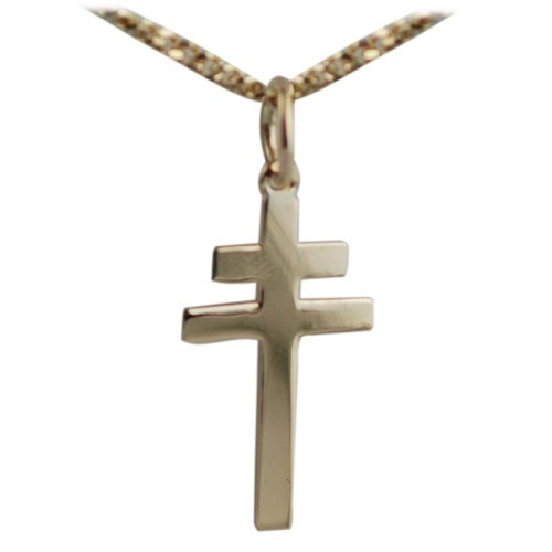 9ct Gold 20x17mm Cross of Lorraine with Curb chain 16 inches only suitable for children
