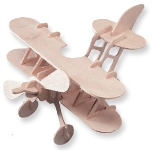 Puzzled Bi Plane 3D Natural Wood Puzzle