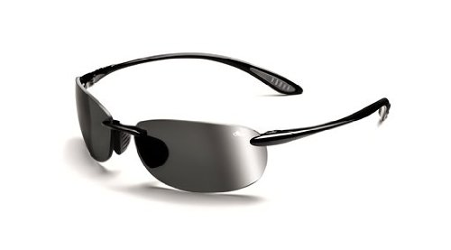 Bolle Sport Kickback Sunglasses,Shiny Black/Polarized TNS Gun