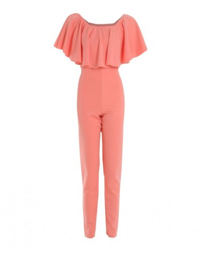 New 2014 Coral Plain Off Shoulder Ruffle Jumpsuit For Women (Uk 12 - Us 8, Coral) front-207262