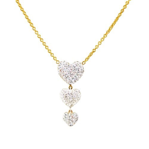Bonded 10k Gold and Silver Crystal Heart Drop Necklace, 18