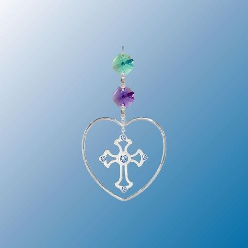 Hanging Sun Catcher or Ornament..... Cross In Heart With Swarovski Austrian Crystals
