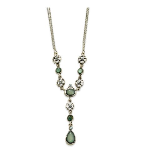 Green & Azure Crystal, MOP 16in w/Ext Y Necklace