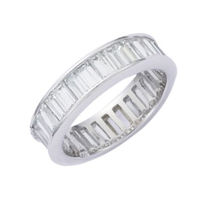 Sterling Silver Clear Cubic Zirconia Eternity Wedding Band Ring - Size 9
