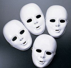 12-pack Plastic Halloween White Drama Party Kids Face Masks