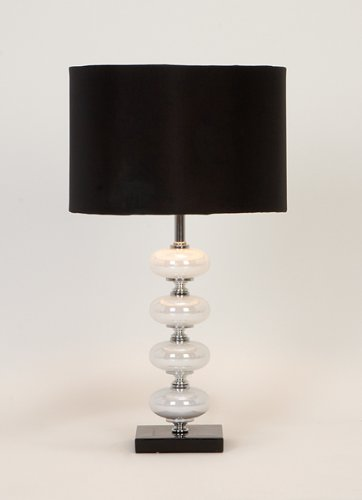 UMA 40023 Black and Pearl Metal Glass Table Lamps