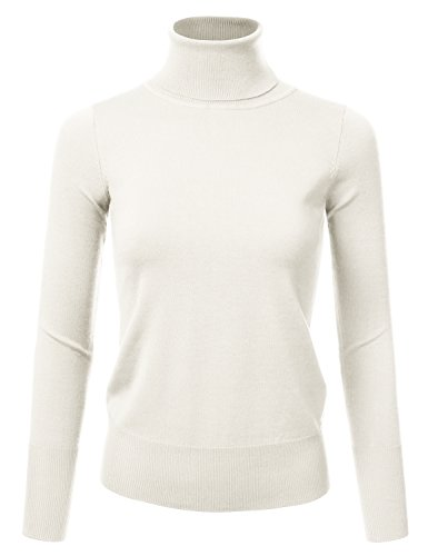 NINEXIS Womens Long Sleeve Turtle Neck Sweater IVORY L