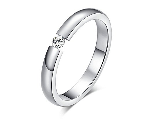 The New Diamond Ring Wedding Ring Personality Ring Single Drill Engagement Ring Wholesale Women'S R-023 (7, Silver)