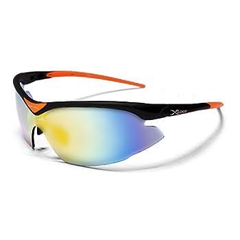 X-Loop Lunettes de Soleil - Sport - Cyclisme - Ski - Conduite - Moto - Nautisme / Mod. 1360 Orange Noir / Taille Unique Adulte / Protection 100% UV400