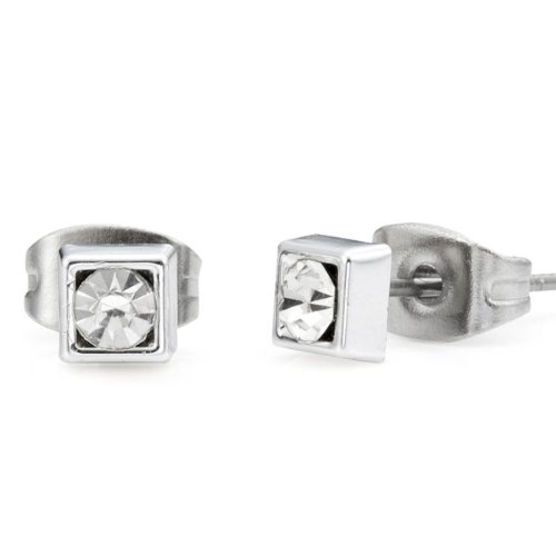 Classic Stainless Steel Cubic Zirconia Stud Earrings for Men (4mm, Silver)