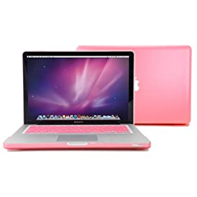 GMYLE (TM) Pink Rubberized-see-through Hard Case Skin for Macbook Pro 13 Inches 13