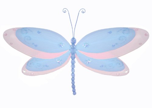 10 Medium Blue MultiLayered Dragonfly Decorations hanging nylon nursery