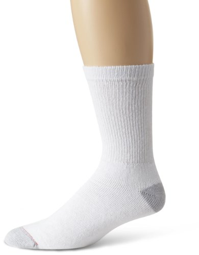 Hanes Mens 10 Pack Crew Sock, White, 6-12