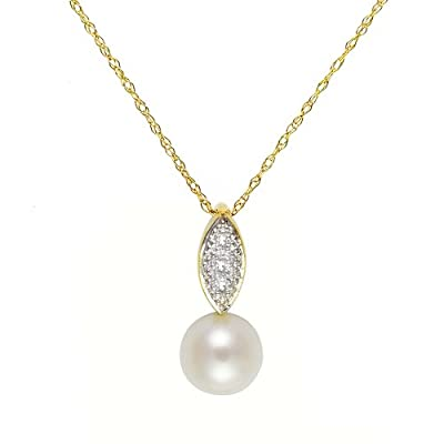 Ivy Gems 9ct Yellow Gold Pearl and Diamond Pendant with 46cm Prince of Wales Chain