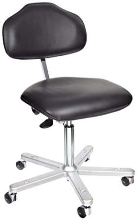 "Milagon Neutra WS1620-L Black Vinyl Workseat on Cast Aluminum 5 Star Base Electrostatic Chair with Self-Braking Conductive Casters, Low Profile, 17""-24"" Adjustment Height"