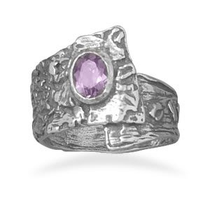 Oxidized Overlap Design Ring with Purple CZ/ Size 9