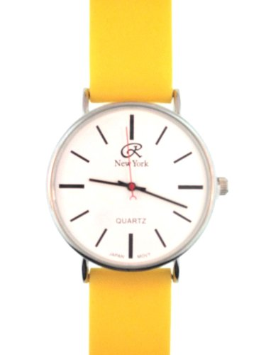 Bright Yellow Silicone Rubber Gel Watch Smooth Band With White, Clear Face