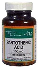 Pantothenic Acid 100mg 100 Tablets by American Dietary Labs