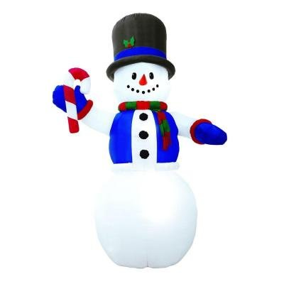 Giant 12' Tall Lighted Snowman Airblown Inflatable