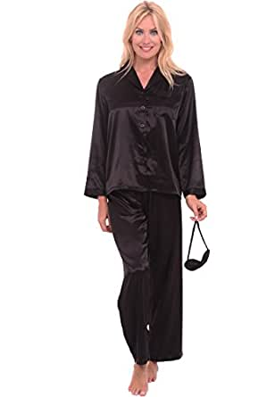 Del Rossa Women's Classic Satin Pajama Set - Long Pjs, Small Black (A0750BLKSM)