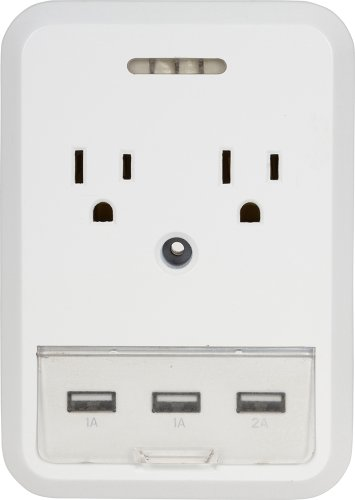 Getpower Slim Home Outlet Adapter 2 Standard Ac Ports, 1 -2.1 Amp Usb Port, And 2 -1000Mah Usb Ports With Surge Protection - Retail Packaging - White