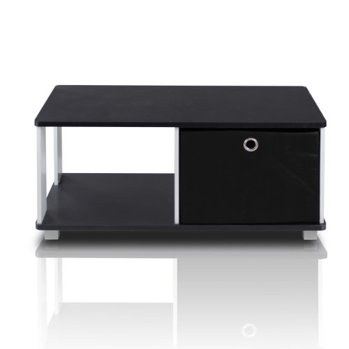 Furinno 99954BK/BK Coffee Table with Bin Drawer, Black & White (Black Small Coffee Table compare prices)