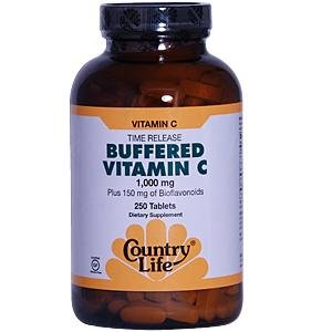 Country Life Time Release Buffered Vitamin C 1000 Mg Plus 150 Mg of Bioflavonoids, 250-Count