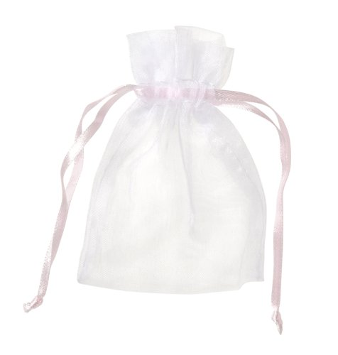 Darice 3-Inch by 4-Inch White and Pink Organza Bag, 12-Piece