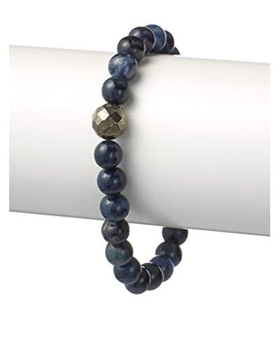 "Stephen Oliver Multi Blue and Round Pyrite Bracelet, APP 8"""