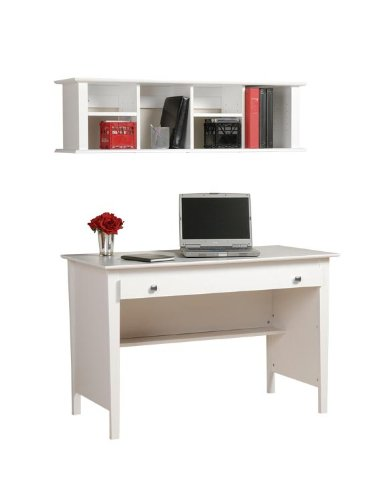 Buy Low Price Comfortable White Contemporary Computer Desk with Wall Hutch JWA106 (B004GEUKL0)