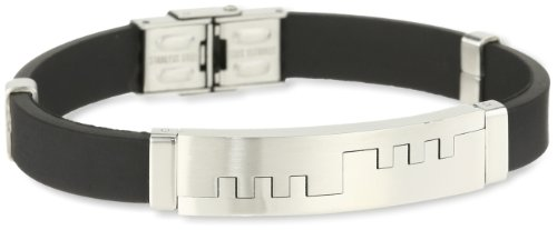 Stainless Steel Two Tone Rubber Bracelet