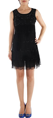JustinCostume 1920s Sleeveless Beaded Fringe Decoration Flapper Party Dress
