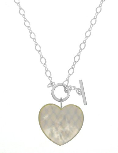Mckenzie Silver Mother-of-Pearl Large Heart with Cubic Zirconia and T-Bar Necklace