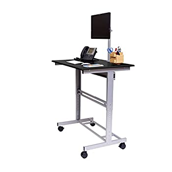 "40"" Mobile Adjustable Height Stand Up Desk with Monitor Mount (Black Shelves / Silver Frame)"