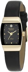 Armitron Women's 753594BKBK NOW Diamond Accented Gold-Tone Black Leather Dress Watch