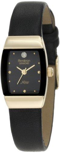 Armitron Women's Black Pig Skin Leather Band Steel Case Quartz Analog Watch 75/3594BKBK