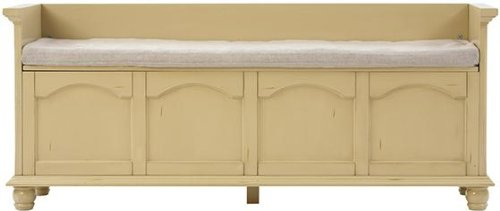 Harwick 60″w Lift top Storage Bench With Fabric Seat, 60″W, ANTIQUE WHITE
