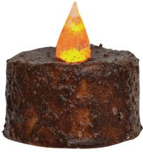 Cinnamon Textured Spice Brown Wax Led Timer Tealight Candle Country Primitive Lighting Décor