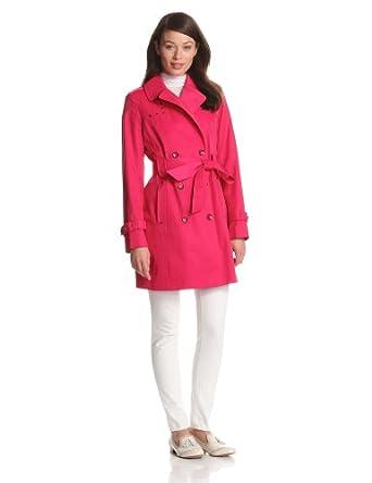Via Spiga Women's Studded Double Breasted Water Resistant Trench Coat, Azalea, Medium