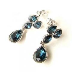 Bollywood Yula Deep Silver Blue Crystal Earring Set Jewelry Amazon