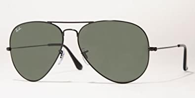 Ray-Ban RB 3026 Large Aviator Sunglasses, Black Frame, Crystal Gray Lenses, RB3026-L2821-62