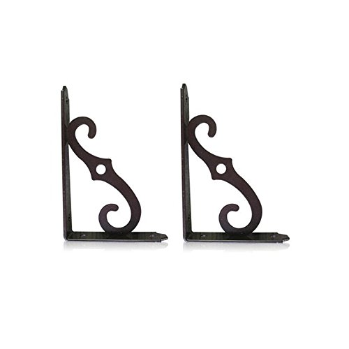 Wall Bracket Shelf Support for Storage Display 2 Pcs BLACK (Black Wood Shelf Bracket compare prices)
