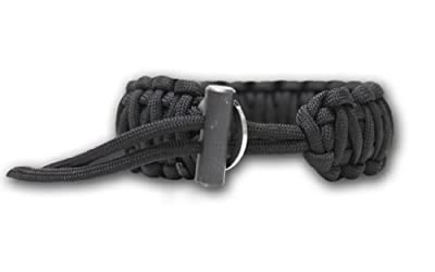 Bison Designs Cobra Pattern Flint and Knife Para Cord Survival Bracelet (Black, Adjustable) from Bison Designs