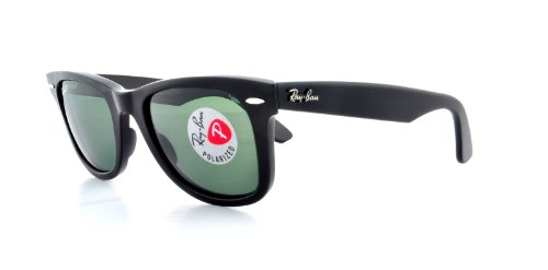 Ray-Ban RB2140 Original Wayfarer Sunglasses 50 mm,Black frame/Crystal Green Polarized lens