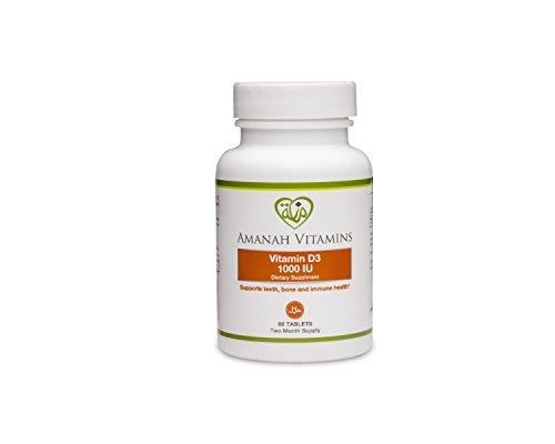 AMANAH VITAMINS - Vitamin D3 1000 IU - HALAL VITAMINS - 60 Tablets (Halal Vitamin D compare prices)