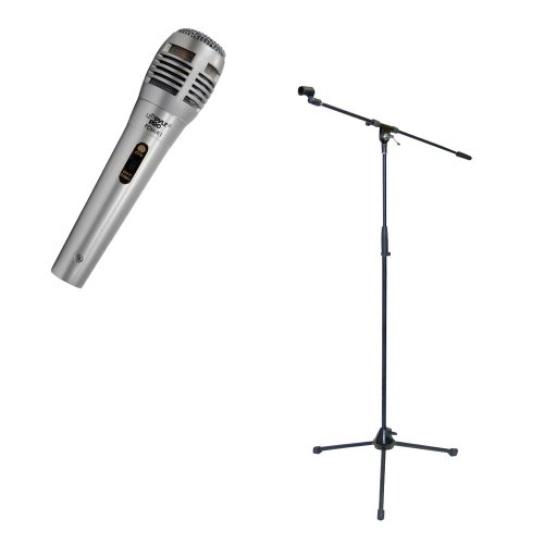 Pyle Mic And Stand Package - Pdmik1 Professional Moving Coil Dynamic Handheld Microphone - Pmks2 Tripod Microphone Stand W/Boom
