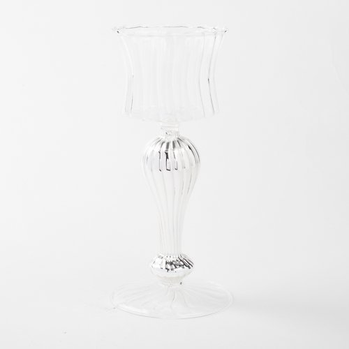 Silver Mercury Glass Pillar Candleholders with Clear Glass Bowl Top by Eastland®