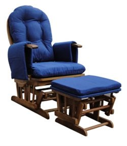 Recliner Glider Nursing Chair & Stool Available In Pink, Beige, Cream, Pale Blue Or Navy Blue - Optional Extra's & Replacement Items Also Available (Navy Blue Covers / Oak Wood with Brake)