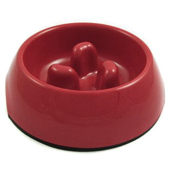 Slow-Eating Anti-Gulping Food Bowl (for Dogs & Cats) - Red, Jumbo